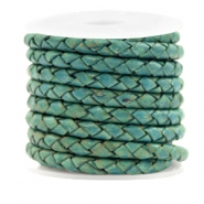 DQ round braided leather 4 strings 4mm Vintage Dark Turquoise Green