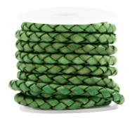 DQ round braided leather 4 strings 4mm Vintage Classic Green