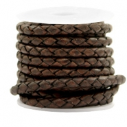 DQ round braided leather 4 strings 4mm Vintage Chocolate Brown