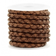 DQ round braided leather 4 strings 4mm Red Brown-Vintage Finish