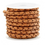 DQ round braided leather 4 strings 4mm Vintage Copper Brown