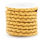 DQ round braided leather 4 strings 4mm Golden Yellow Metallic