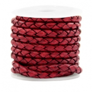 DQ round braided leather 4 strings 4mm Vintage Red