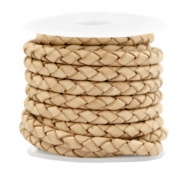 DQ round braided leather 4 strings 4mm Vintage Natural Brown