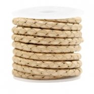 DQ round braided leather 4 strings 4mm Champagne Gold Metallic
