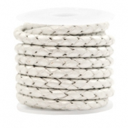 DQ round braided leather 4 strings 4mm Silver White Metallic