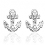 Trendy earrings studs anchor Silver