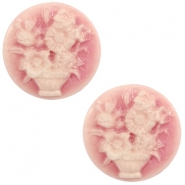 Basic cabochon cameo 20mm bouquet Vintage Pink-Off White