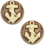 Basic cabochon cameo 20mm anchor Brown-Antique Gold