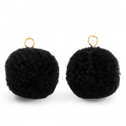 Pompom charms with loop 15mm Black-Gold