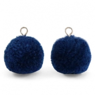 Pompom charms with loop 15mm Nightshadow Blue-Silver