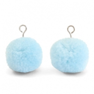 Pompom charms with loop 15mm Light Blue-Silver