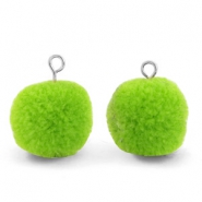 Pompom charms with loop 15mm Dark Lime Green-Silver