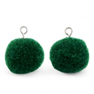 Pompom charms with loop 15mm Dark Green-Silver