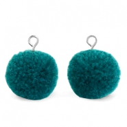 Pompom charms with loop 15mm Green Zircon-Silver