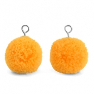 Pompom charms with loop 15mm Brilliant Orange-Silver