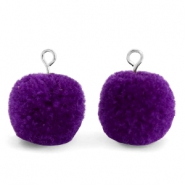 Pompom charms with loop 15mm Indigo Purple-Silver