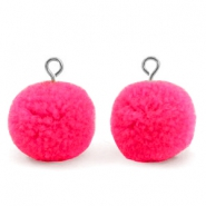 Pompom charms with loop 15mm Hot Neon Pink-Silver