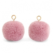 Pompom charms with loop 15mm Vintage Pink-Gold