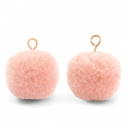 Pompom charms with loop 15mm Salmon Pink-Gold