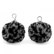 Pompom charms with loop 15mm Black Grey-Silver
