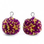 Pompom charms with loop 15mm Purple Yellow-Silver