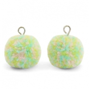 Pompom charms with loop 15mm Mix Pastel Green-Silver