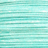Waxed cord metallic 1.0mm Turquoise Blue