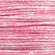 Waxed cord metallic 0.5mm Magenta Pink