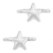 DQ European metal charms connector star Antique Silver (nickel free)