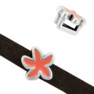 DQ European metal sliders seastar Antique Silver-Coral (nickel free)
