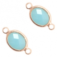 Crystal glass connectors oval 10x9mm Turquoise Blue opal-Rose Gold