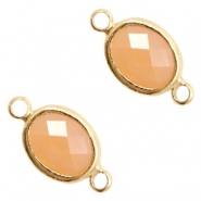 Crystal glass connectors oval 10x9mm Light Peach opal-Gold