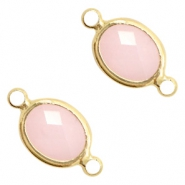 Crystal glass connectors oval 10x9mm Pink opal-Gold