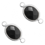 Crystal glass connectors oval 10x9mm Black opaque-Silver