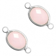 Crystal glass connectors oval 10x9mm Pink opal-Silver