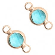 Crystal glass connectors round 6mm Turquoise Blue crystal-Rose Gold