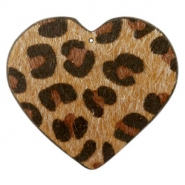 Hairy faux leather pendant heart with leopard print Cognac Brown