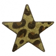 Hairy faux leather pendant star with leopard print Dark Olive Green