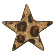 Hairy faux leather pendant star with leopard print Cognac Brown