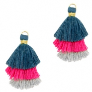 Tassels 3-layer 3.2cm Gold-Blue Pink Grey