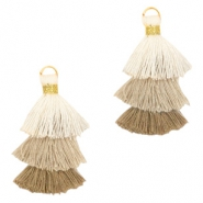 Tassels 3-layer 3.2cm Gold-Multicolour Sand Brown