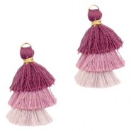 Tassels 3-layer 3.2cm Gold-Multicolour Aubergine Purple
