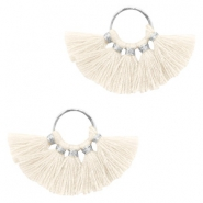 Tassels charm Silver-Ivory White