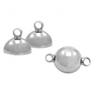 Stainless Steel findings magnetic clasp ball 10mm Antique Silver