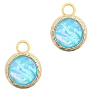 Crystal glass charms 8mm Holographic Blue