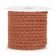Trendy flat cord braided suede style 5mm Cognac Brown