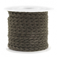 Trendy flat cord braided suede style 5mm Dark Olive Green