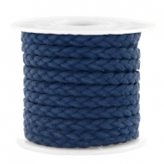 Trendy flat cord braided suede style 5mm Dark Blue