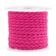 Trendy flat cord braided suede style 5mm Fuchsia